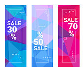 Abstract trendy vector polygonal sale design background