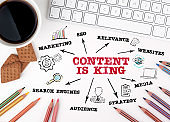 CONTENT IS KING. Marketing, SEO, Media and Search Engines concept. Chart with keywords and icons