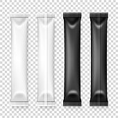 Vector 3d Realistic White and Black Long Slim Blank Packaging Set Isolated. Drugs, Coffee, Salt, Sugar, Pepper, Spices, Sachet, Candy Wrapper. Design Template of Packing for Mockup. Top View