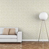 Elegant living room 70's style with sofa wallpaper background