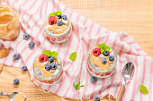 Chia pudding with oat and berries