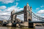 Side View Of Tower Bridge In London, UK