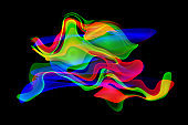 Colorful Waves Chaos Black Background Vitality Lava Lamp Morphing Pattern Digitally Generated Image