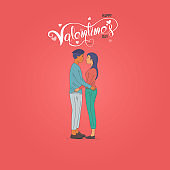 Romantic couple with hearts shape on Red background.Happy Valentines Day 14 February illustration.Romantic happy loving couple.Valentine's Day, love & relationships.Happy Valentines Day vector illustration.