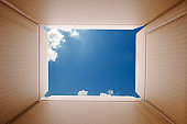 View from inside a cardboard box against sky