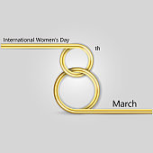 Abstract Golden Greeting card.Golden number eight and glitter gold greeting on background.International Happy Women's Day.8th of March holiday background