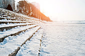 Stone stairs covering with snow