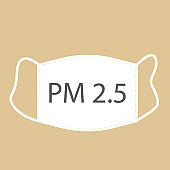 PM 2.5 pollution mask concept for air quality