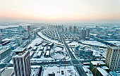 Aerial view of downtown district in winter