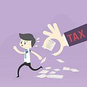 Investors businessman run away from hand and paperwork, collecting income tax and annual investment. Pictures for tax preparation Business operation