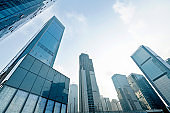 Construction site of modern skyscraper