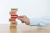 Wooden blocks with the word insurance