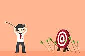 Businessman hit Many arrows missed target mark miss. Multiple failed hit archery target. Business challenge failure
