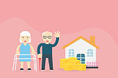 Pension savings and planning concept illustration with Old married couple And saving money for investment of the elderly in case of daily expenses during retirement from work and medical expenses