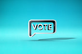 three-dimensional voting symbol in the blue background. 3d illustration.