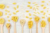 Flat lay with different types of traditional italian pasta. Penne, tagliatelle, fusilli, farfalle, spaghetti and others. Traditional italian cusine concept