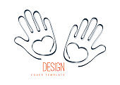 Palms of hands and heart. Creative design. The concept of support, charity, volunteering, love, kindness. Vector