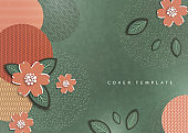 Abstract background, circles, lines, dots, cut out of paper flowers and leaves. Trendy graphic design for banner, poster, card, cover, invitation, brochure.