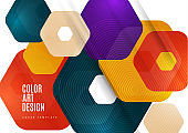 Bright abstract background of rounded multicolored hexagons. Business presentation template. Modern geometric design. Vector