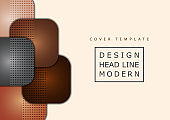 Abstract geometric background, colored round squares form a banner. Modern template for business brochure, flyer, presentation or web design layout.