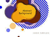 Creative abstract bright background. Smooth flowing liquid, circles and stripes on a white background. Template for prints, posters, flyers.
