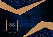 Abstract composition of bright triangles on a dark background from a texture with round perforations. Layering, the effect of light in the center. Template for cover, banner, brochure, business card.