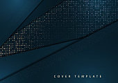 Modern abstract geometric background. Overlapping triangles, halftones, bright gradient. Template for your corporate design.