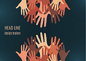 Palms of hands. Creative design. The concept of support, charity, volunteering, love, kindness. Vector
