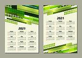 Creative business calendar 2021, 12 months. Bright corporate design, flyer, brochure, advertisement. Vector