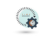 Time management concept. Creative icon for efficiency, productivity. Sign stopwatch, gears. Flat design. Vector