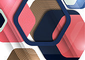 Abstract background of rounded colored hexagons. Business presentation template. Modern geometric design. Vector