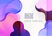 Modern geometric wave pattern background, halftone, dynamic shapes, small particles, bright colors. Cover design, poster, flyer, book design.