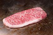 Japanese wagyu beef steak teppanyaki.