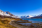 Sunny Spring day in Northern Norway Fjords Scandinavian landscape  Europe