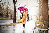 Woman walking on the city on a rainy day