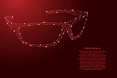 Sunglasses from futuristic polygonal red lines and glowing stars for banner, poster, greeting card. Vector illustration.