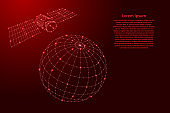 Satellite artificial is flying over the globe from futuristic polygonal red lines and glowing stars for banner, poster, greeting card. Vector illustration.