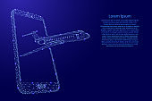 Airplane flying out of a smartphone screen from futuristic polygonal blue lines and glowing stars for banner, poster, greeting card. Vector illustration.