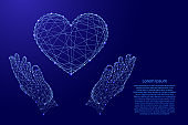 Heart sign symbol of love and two holding, protecting hands from futuristic polygonal blue lines and glowing stars for banner, poster, greeting card.