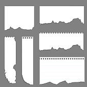Ripped white paper. Tornlight scrap note paper for notes pieces vector realistic pictures for banners. Eps 10