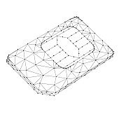 SIM card phone from abstract futuristic polygonal black lines and dots. Vector illustration.