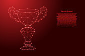 Winner's Cup, online reward from futuristic polygonal red lines and glowing stars for banner, poster, greeting card. Vector illustration.