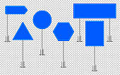 Blue traffic signs. Road board text panel, mockup signage direction highway city signpost location street arrow way vector set.