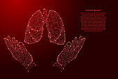 Lungs human organ and two holding, protecting hands from futuristic polygonal red lines and glowing stars for banner, poster, greeting card. Vector illustration.