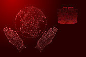 Globe of Earth and two holding, protecting hands from futuristic polygonal red lines and glowing stars for banner, poster, greeting card. Vector illustration.