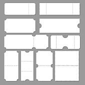 Blank ticket template. Festival concert tickets, white paper coupon card layout and cinema admit one sheet. Event, theater or lottery tickets isolated vector symbols mockup. EPS 10