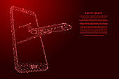 Airplane flying out of a smartphone screen from futuristic polygonal red lines and glowing stars for banner, poster, greeting card. Vector illustration.