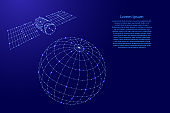 Satellite artificial is flying over the globe from futuristic polygonal blue lines and glowing stars for banner, poster, greeting card. Vector illustration.