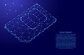 SIM card phone map from futuristic polygonal blue lines and glowing stars for banner, poster, greeting card. Vector illustration.