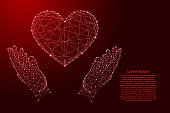 Heart sign symbol of love and two holding, protecting hands from futuristic polygonal red lines and glowing stars for banner, poster, greeting card.